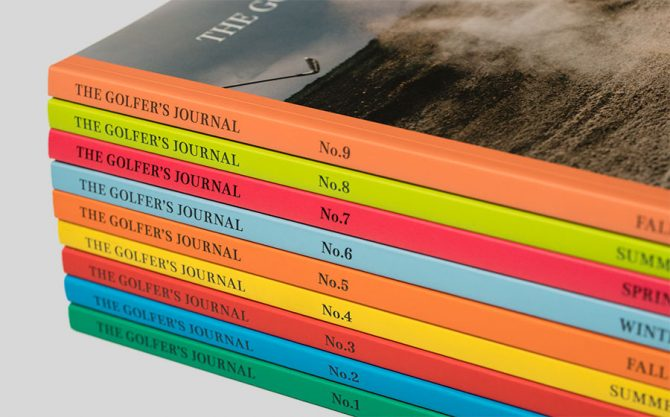 Stack of The Golfer's Journal No. 1-9 with Colored Spines