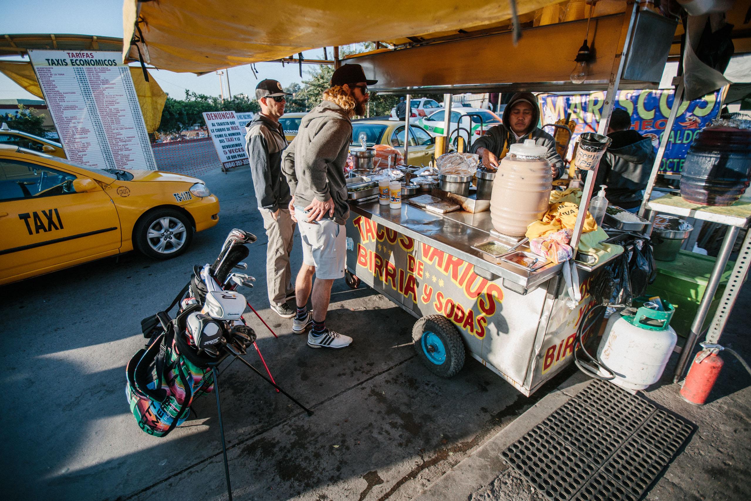 Golfers get tacos in Tijuana, Mexico