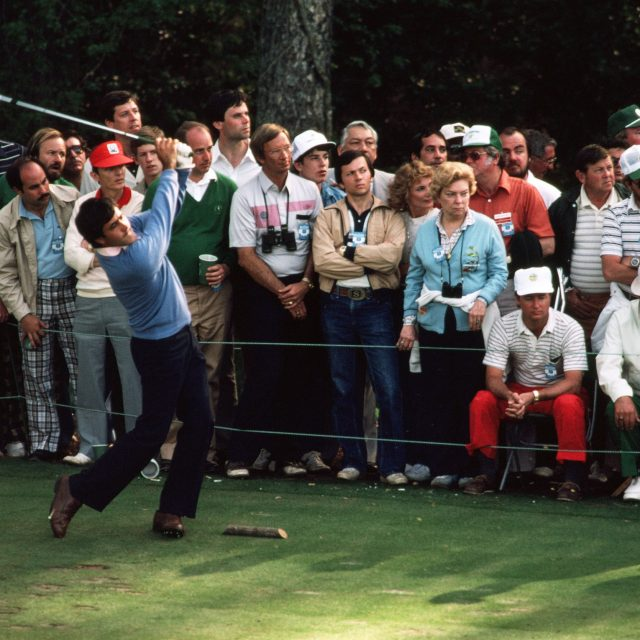 AUGUSTA, GA - APRIL 1983: Seve Ballesteros tees off while a gallery watches during the 1983 Masters Tournament at Augusta National Golf Club April 11, 1983 in Augusta, Georgia. (Photo by Augusta National/Getty Images)