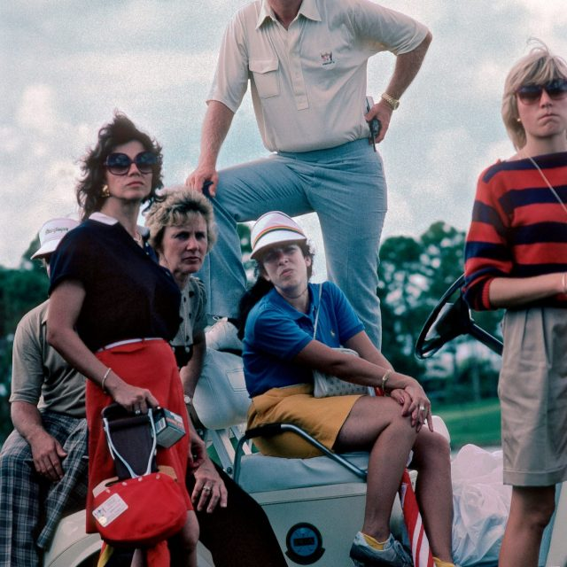 American golfer Jack Nicklaus watching the Ryder Cup with some of the wives of the American team at the PGA National golf course in Palm Beach, USA, in 1983. (Photo by Phil Sheldon/Popperfoto/Getty Images)