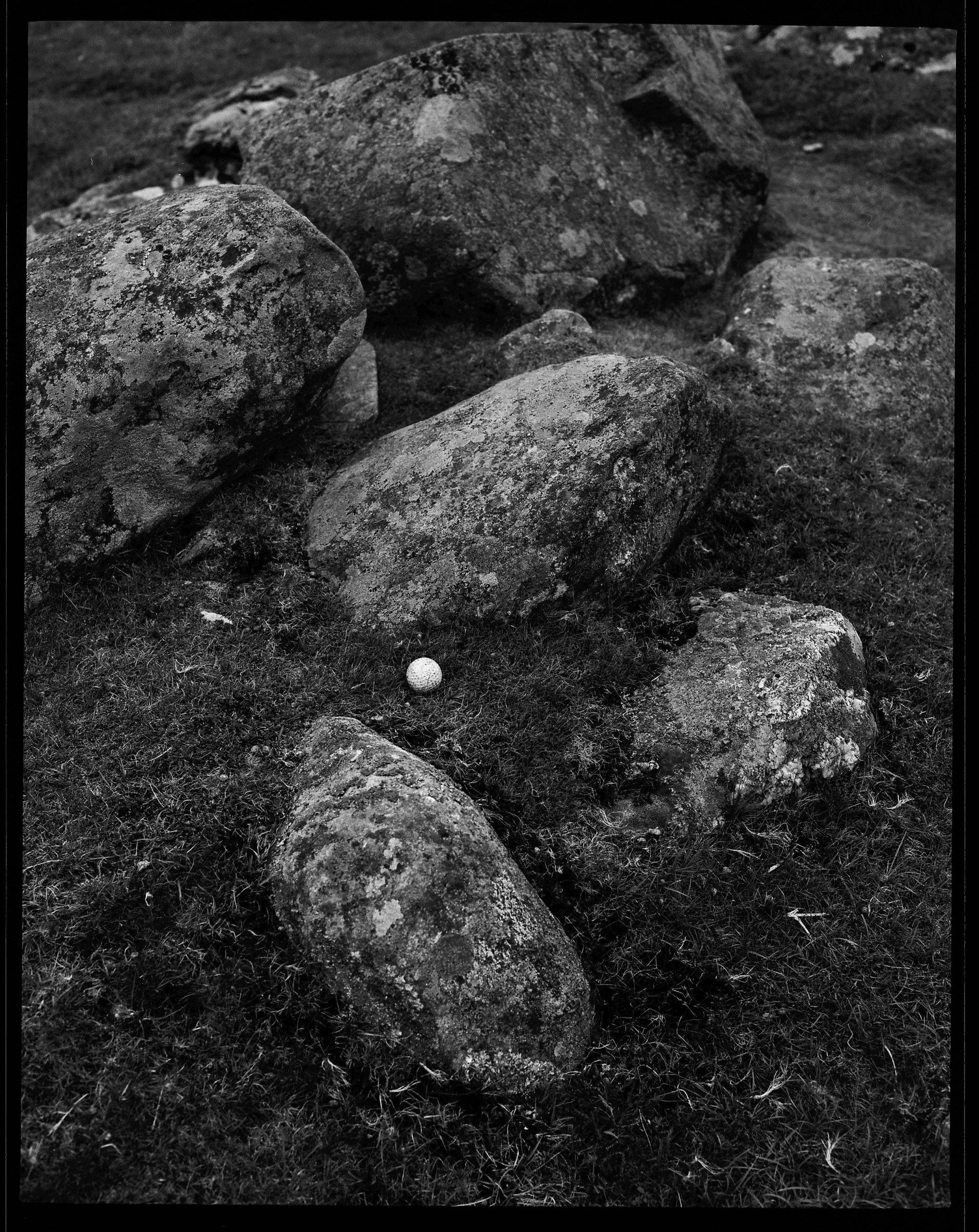 golf ball in rocks