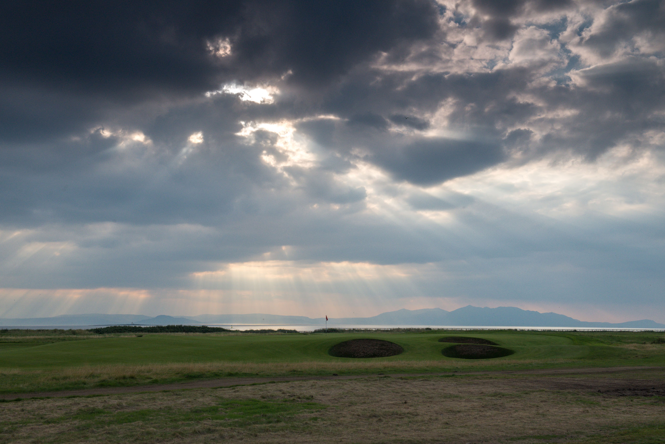 Royal Troon 17 green to Arran. Photo by Kevin Markham.