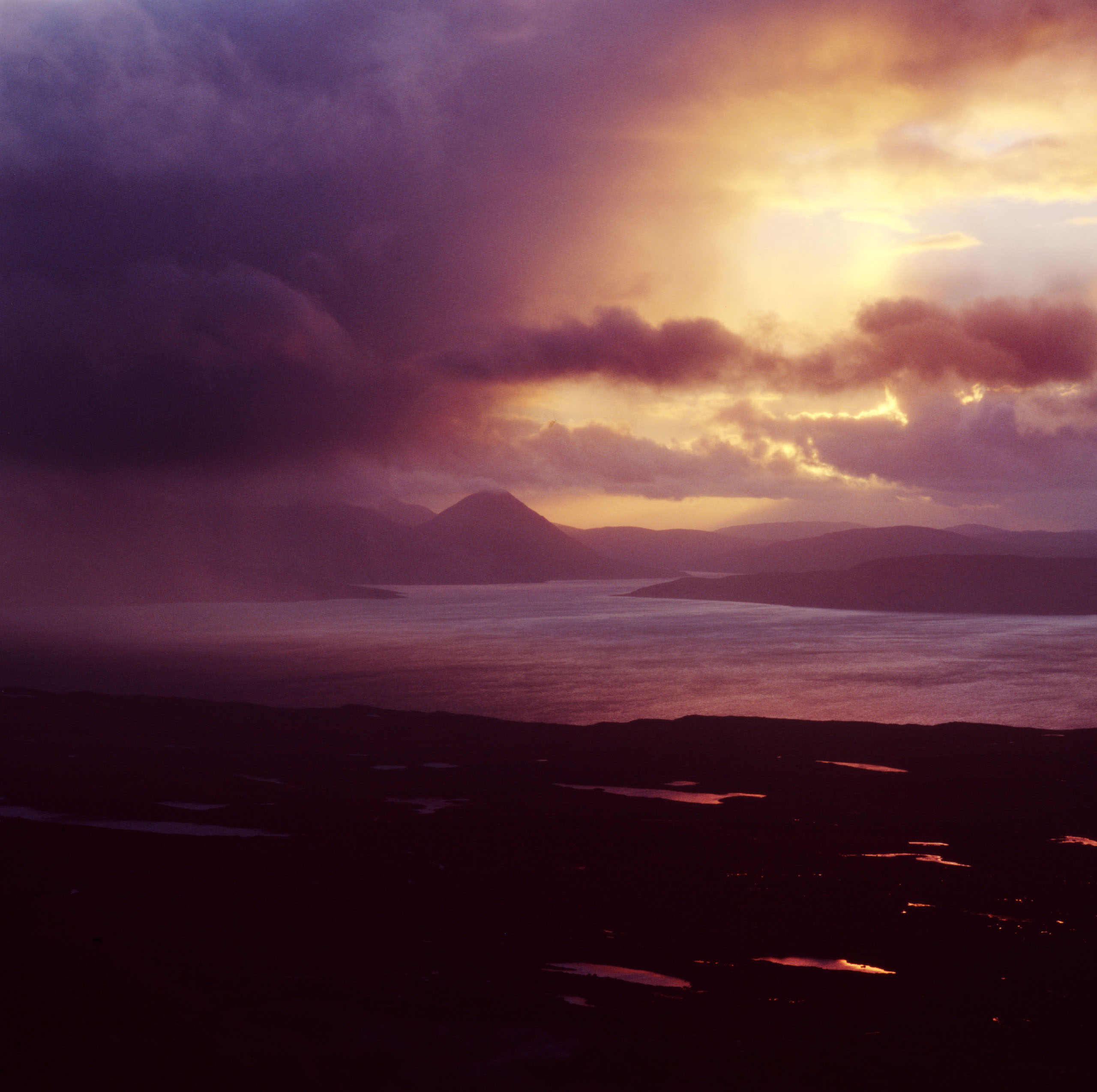 An Autumnal squall passes over the sea to Skye viewed from the Applecross estate, owned by the Applecross trust which is a charity thats runs the 26,700 hectares. Photo by Kieran Dodds.