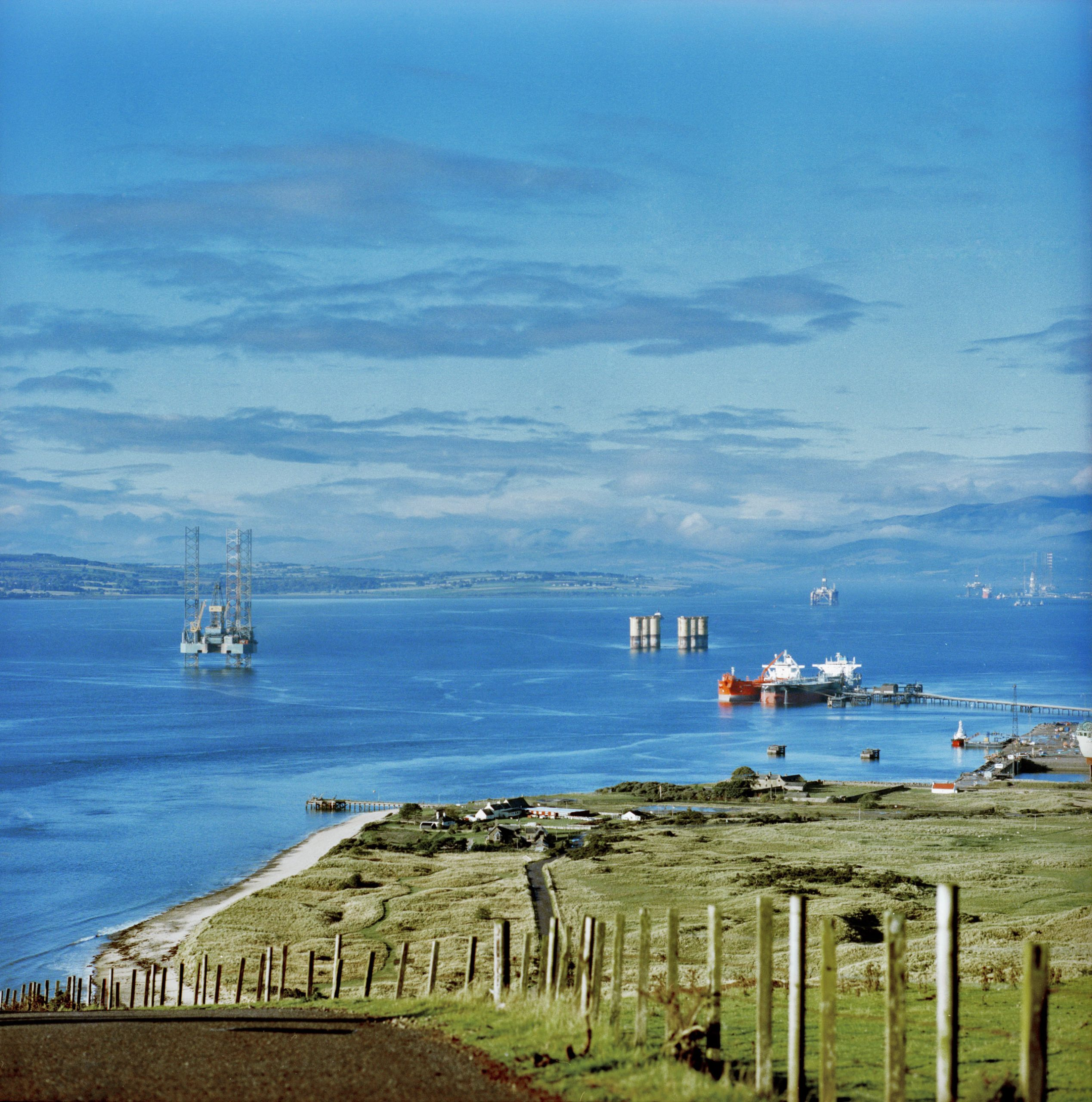 Oil rigs come to the deep harbour of the Cromarty firth at Nigg within close reach of the North sea oil fields to be repaired or decommissioned. Photo by Kieran Dodds.
