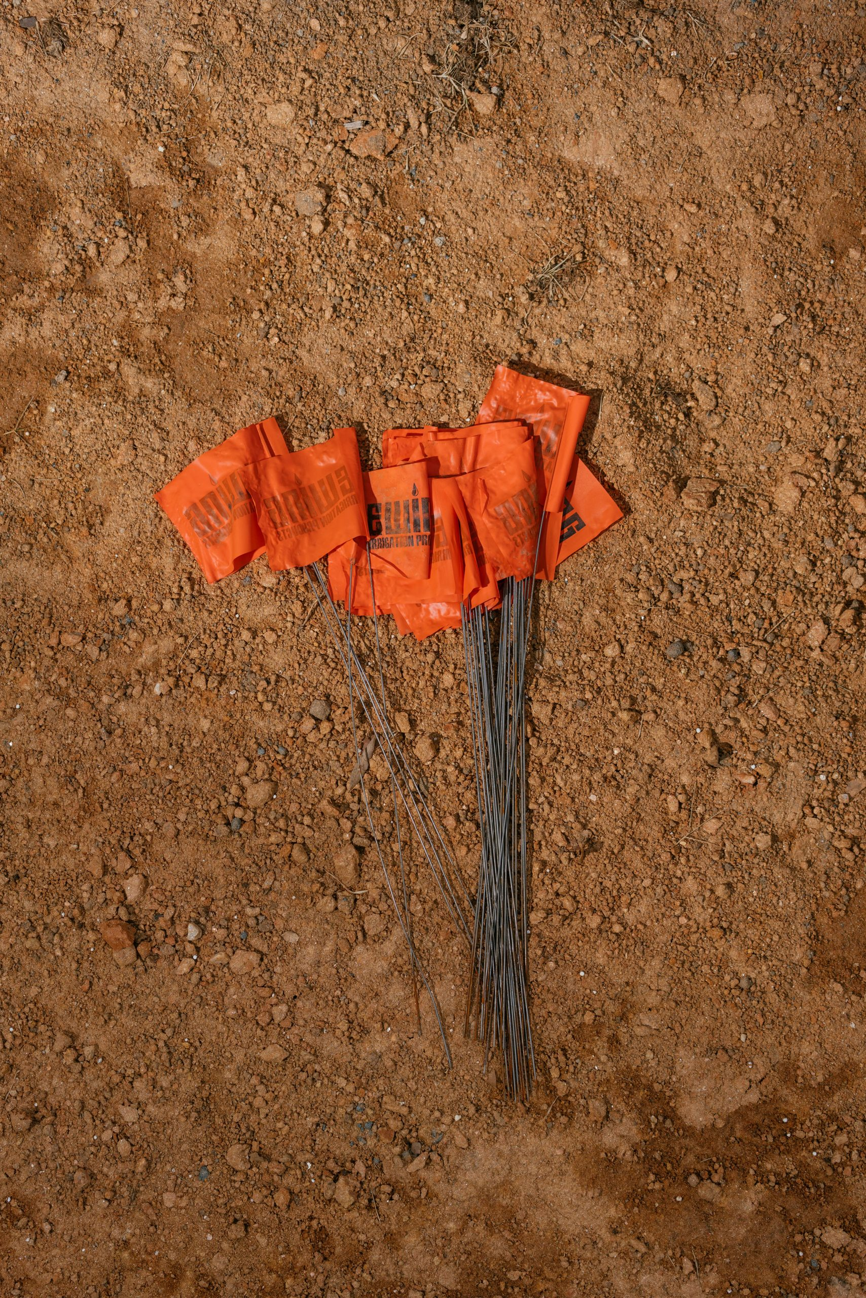 Guiding flags in dirt. Photo: Lexey Swall