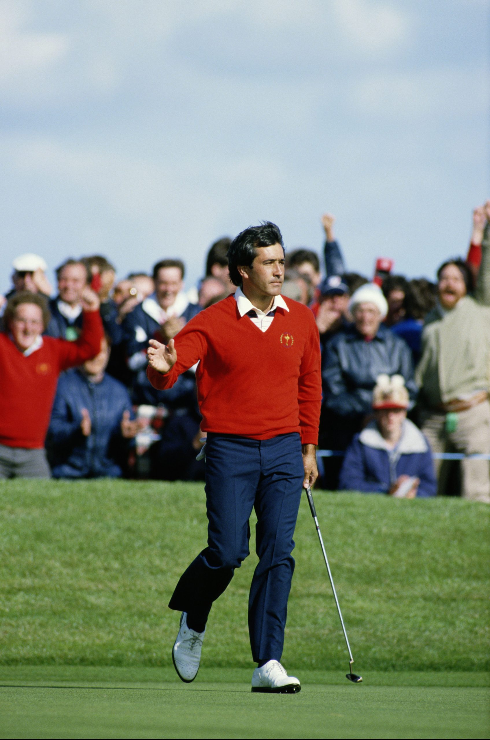 Spanish golfer Seve Ballesteros on the 17th green during a Ryder Cup match at The Belfry, Warwickshire, 15th September 1985.