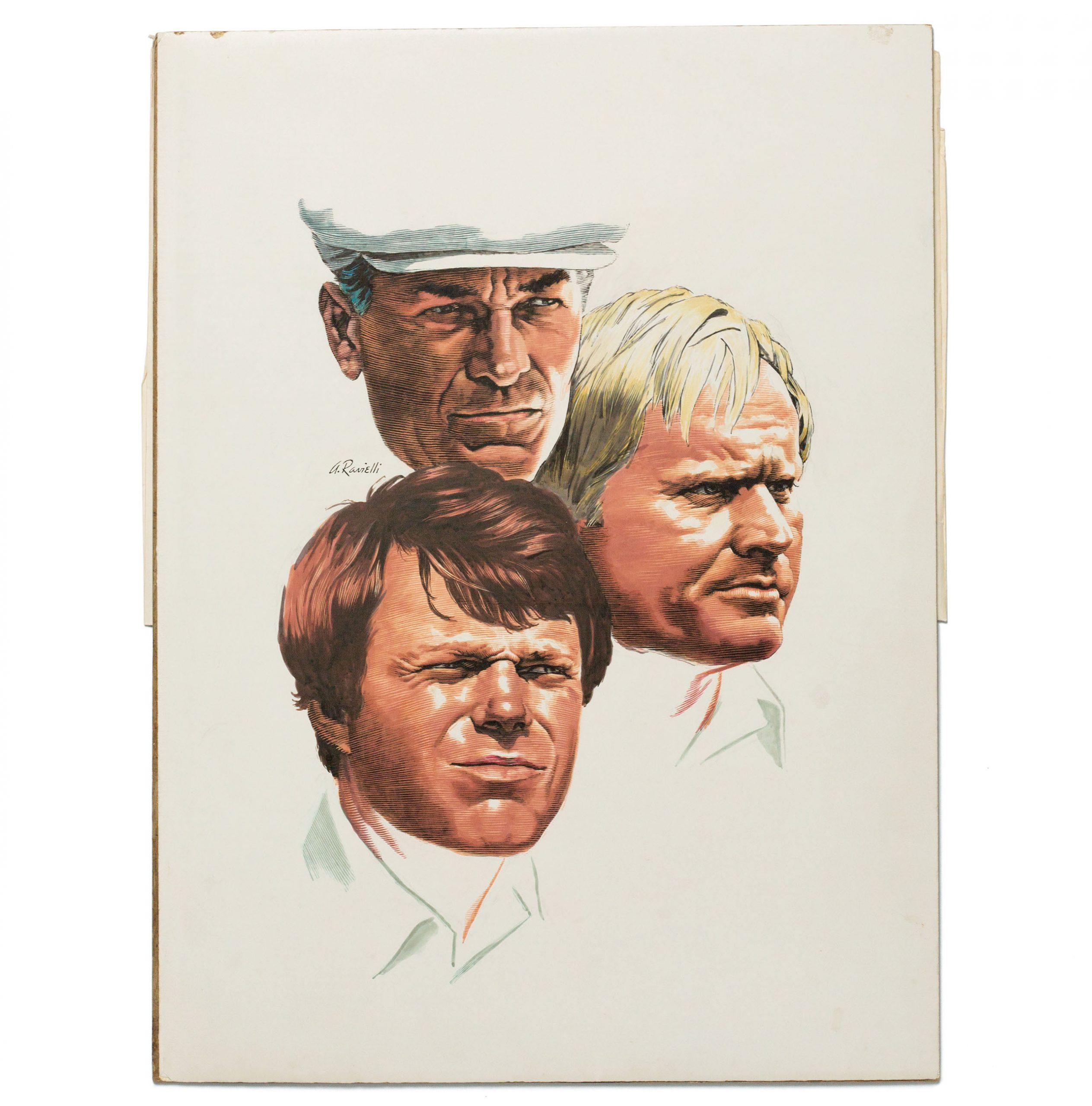 Illustration of Ben Hogan, Jack Nicklaus, and Tom Watson
