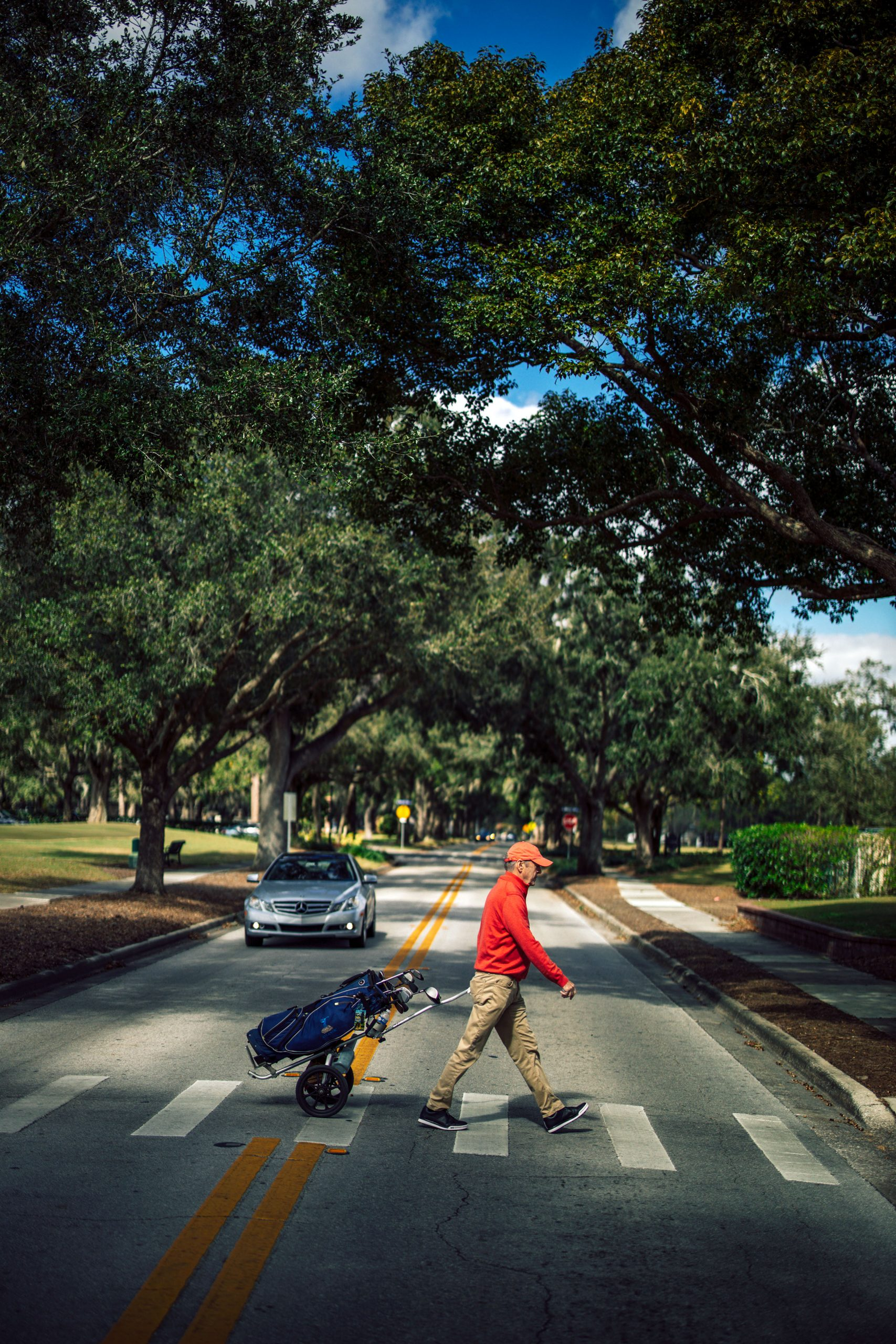 Billy Collins crossing a street, Winter Park 9