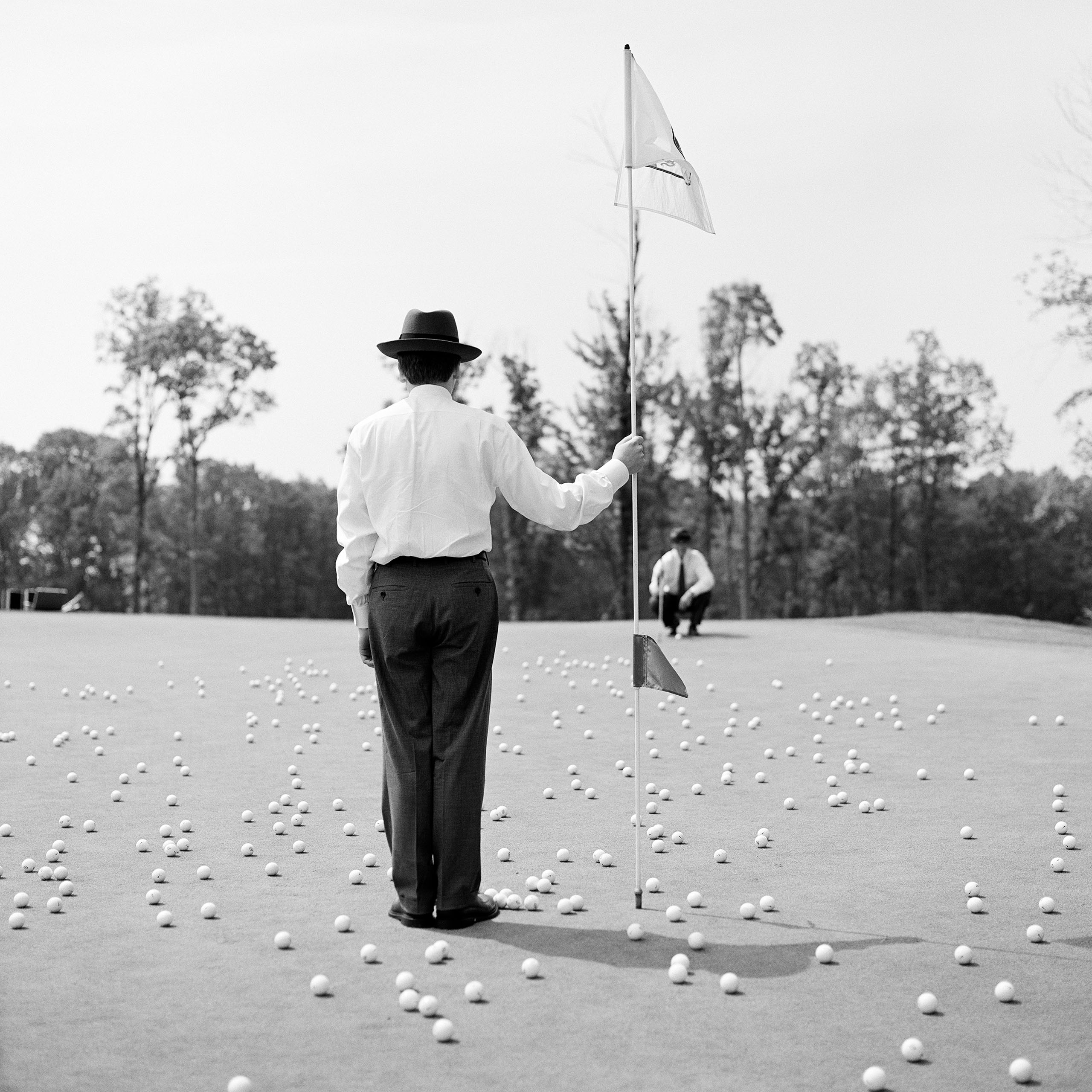 Putting green with golf balls, Nyack, New York, 2002