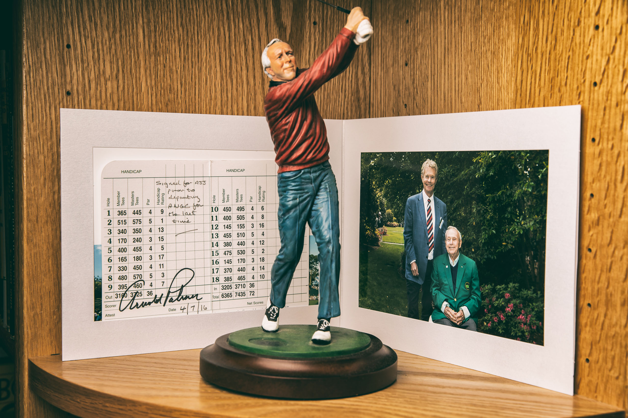 Arnold Palmer Autographed Masters Scorecard And Photograph 2016. Photography by Todd Rosenberg.