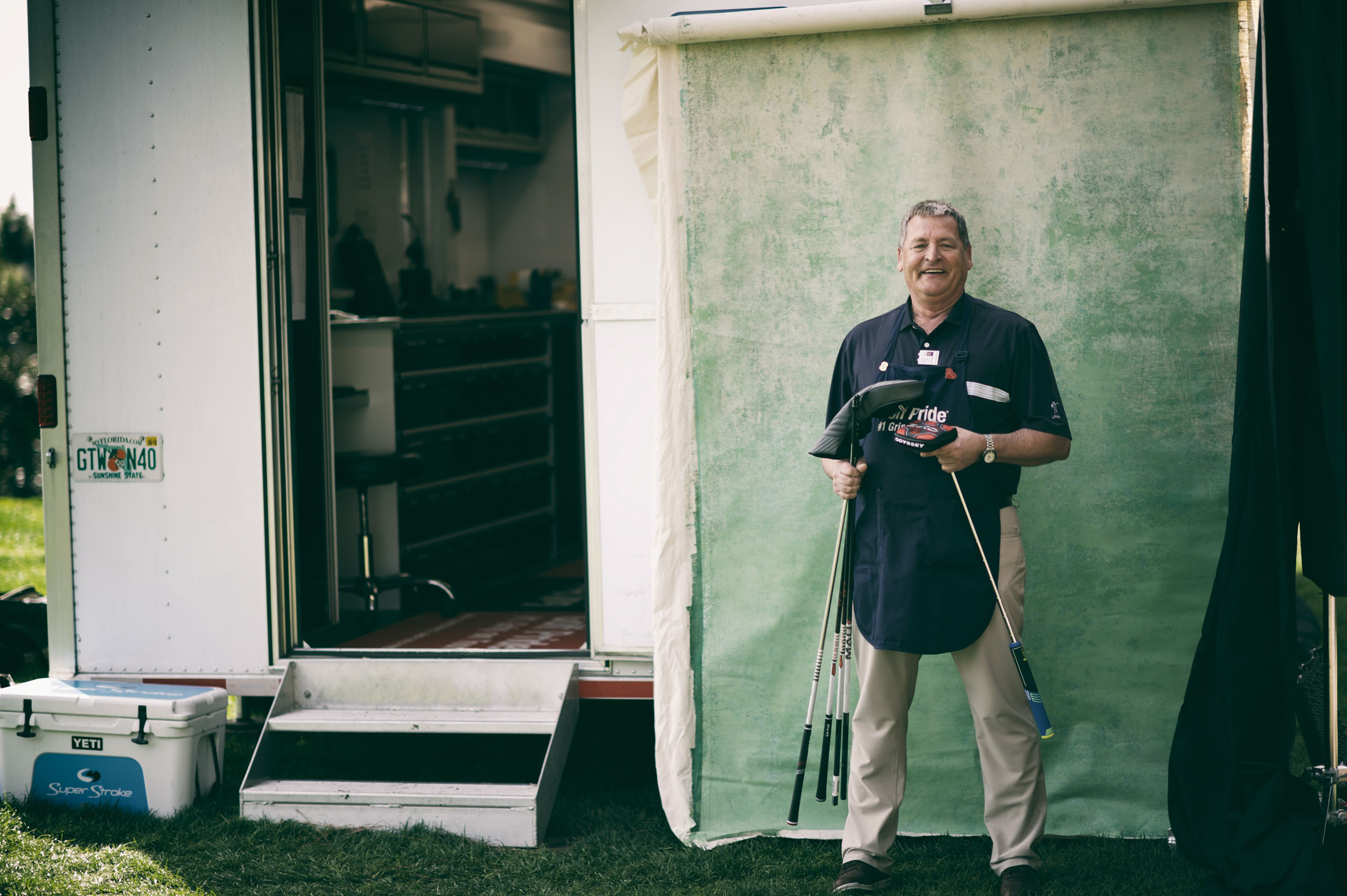 Gruff but good-hearted, Paul Boehmer has allowed LPGA players to turn his ubiquitous trailer into an impromptu clubhouse. From candy jars decorated by players' daughters to a kind word after a tough round, the trailer is a happy place. Photo by Kohjiro Kinno
