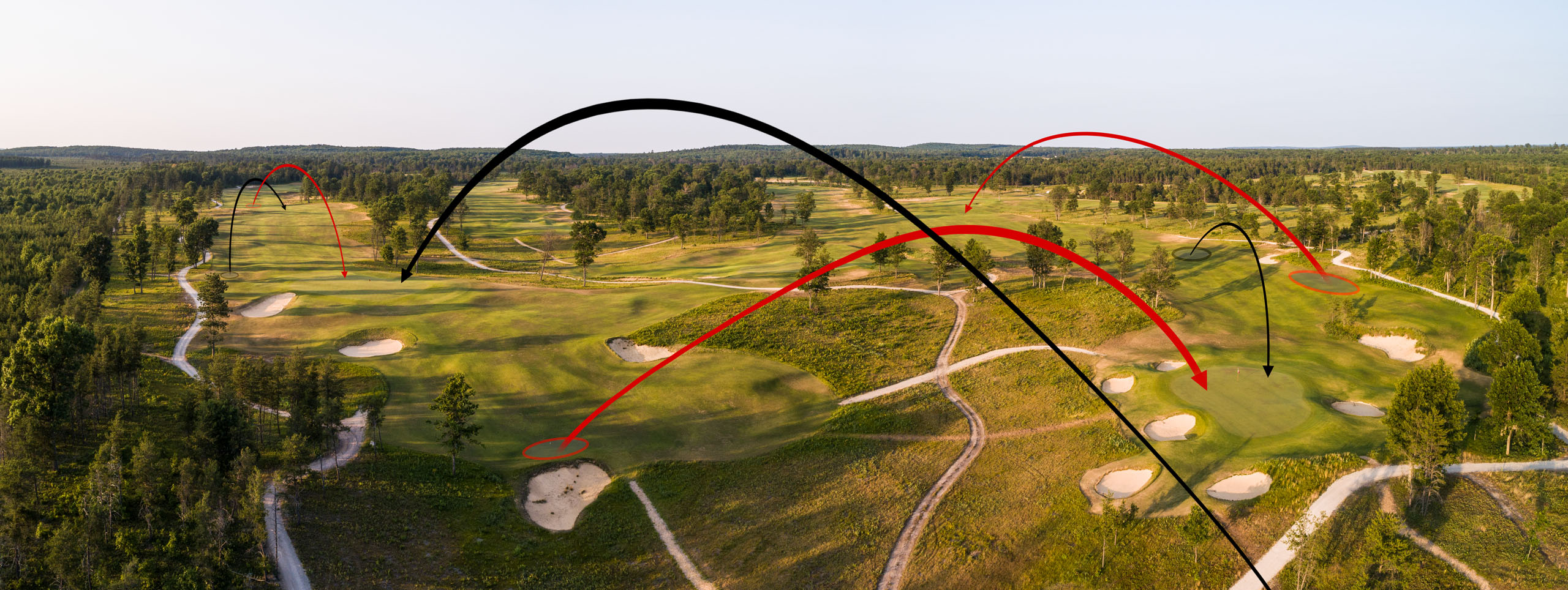 Shot-tracker arrows illustrate how Doak used the same corner of the property to accommodate Nos. 5 through 7 Red and Nos. 12 through 14 Black.