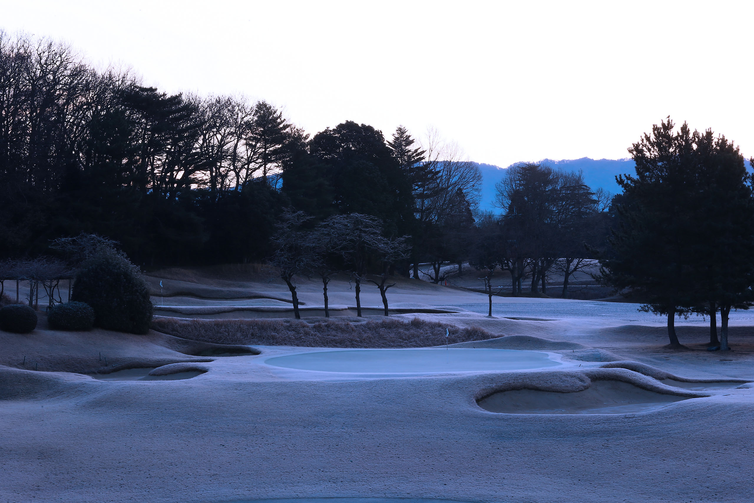 The third hole at Naruo Golf Club, a classic course in Japan that will celebrate its 100th anniversary in 2020. The frost on the course in the middle of winter is very beautiful. Photo by Taku Miyamoto