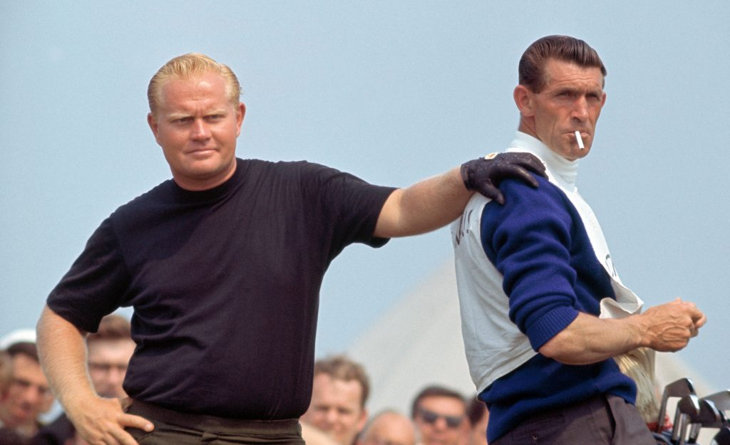 Back in the days when players used British caddies at the Open Championship, Jack Nicklaus formed a special bond with his man Jimmy Dickinson. Their partnership began at the 1963 Open at Royal Lytham & St. Annes Golf Club, and Dickinson was on the bag for all three of Nicklaus' Open victories: 1966 at Muirfield and 1970 and 1978 at St. Andrews. In 1967, however, Jack and Jimmy couldn't quite stare down another title at Hoylake. Photo by Ed Lacey/Popperfoto/Getty Images