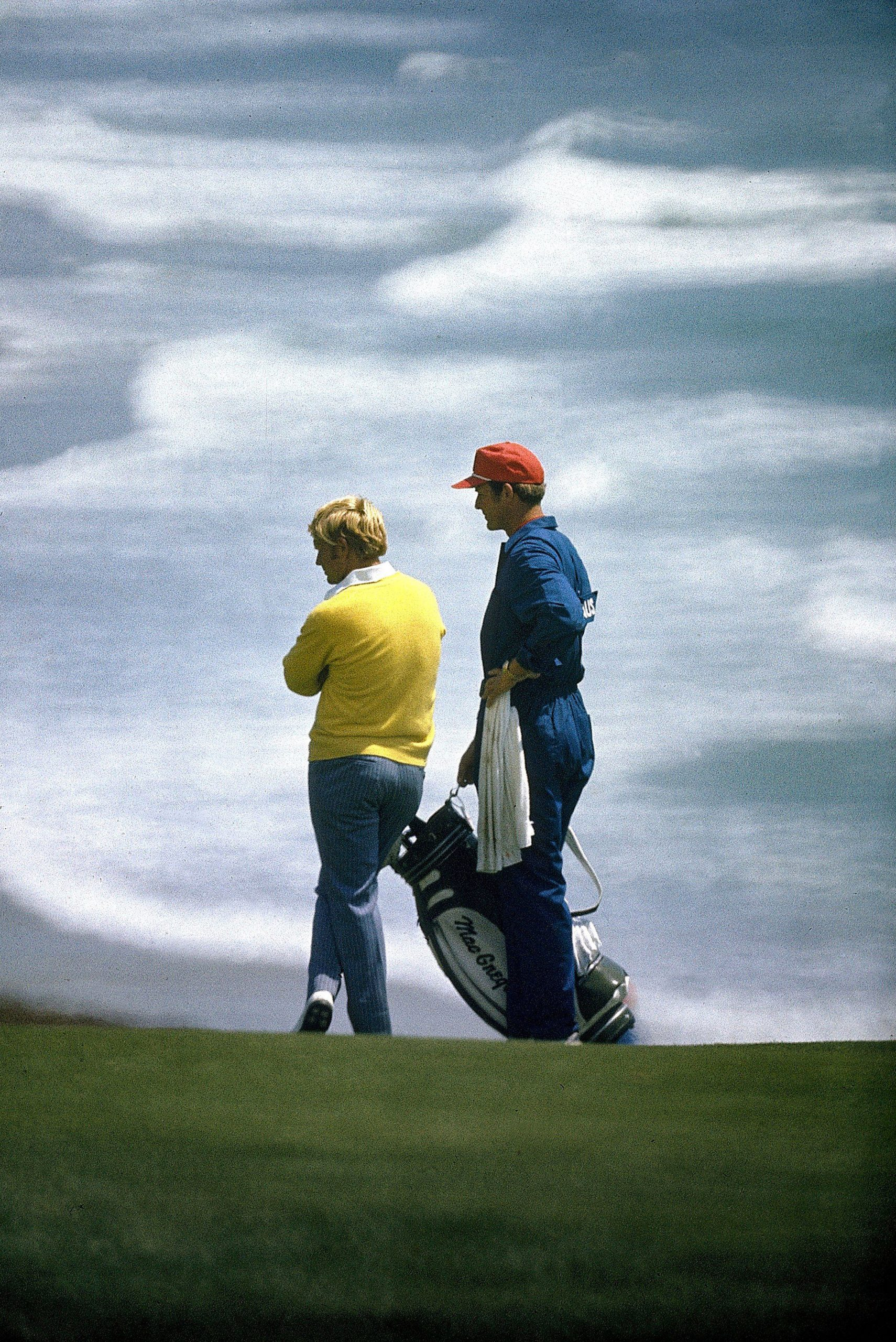 Nicklaus staring down the pin on Sunday in '72, moments before his unforgettable 1-iron. Photo by James Drake/Sports Illustrated/Getty Images