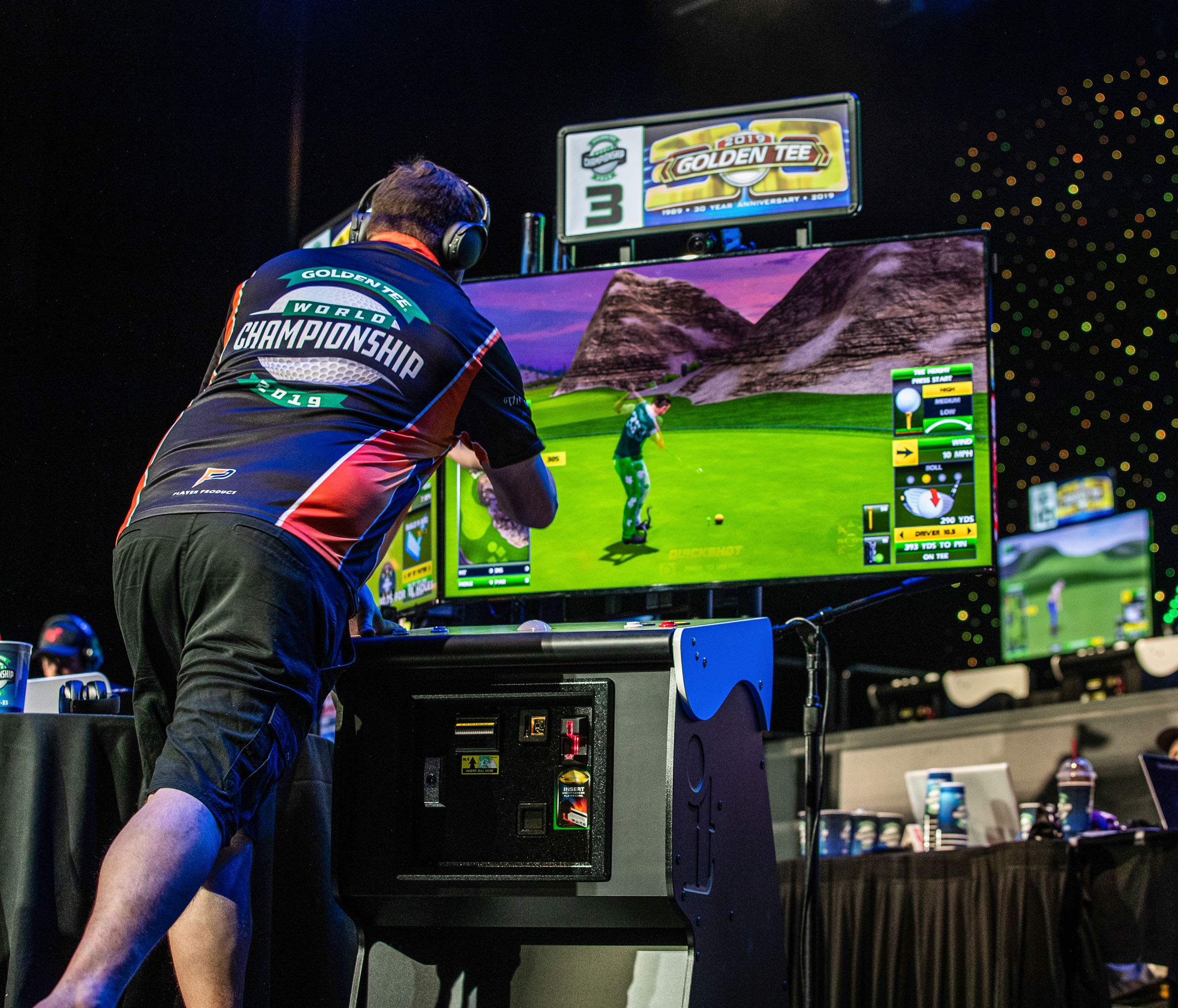 Beers, red numbers and extended follow-throughs: Stylistically, not much differs between your local pub and Golden Tee's grandest stages when it comes to 18 virtual holes. Photo courtesy of Incredible Technologies