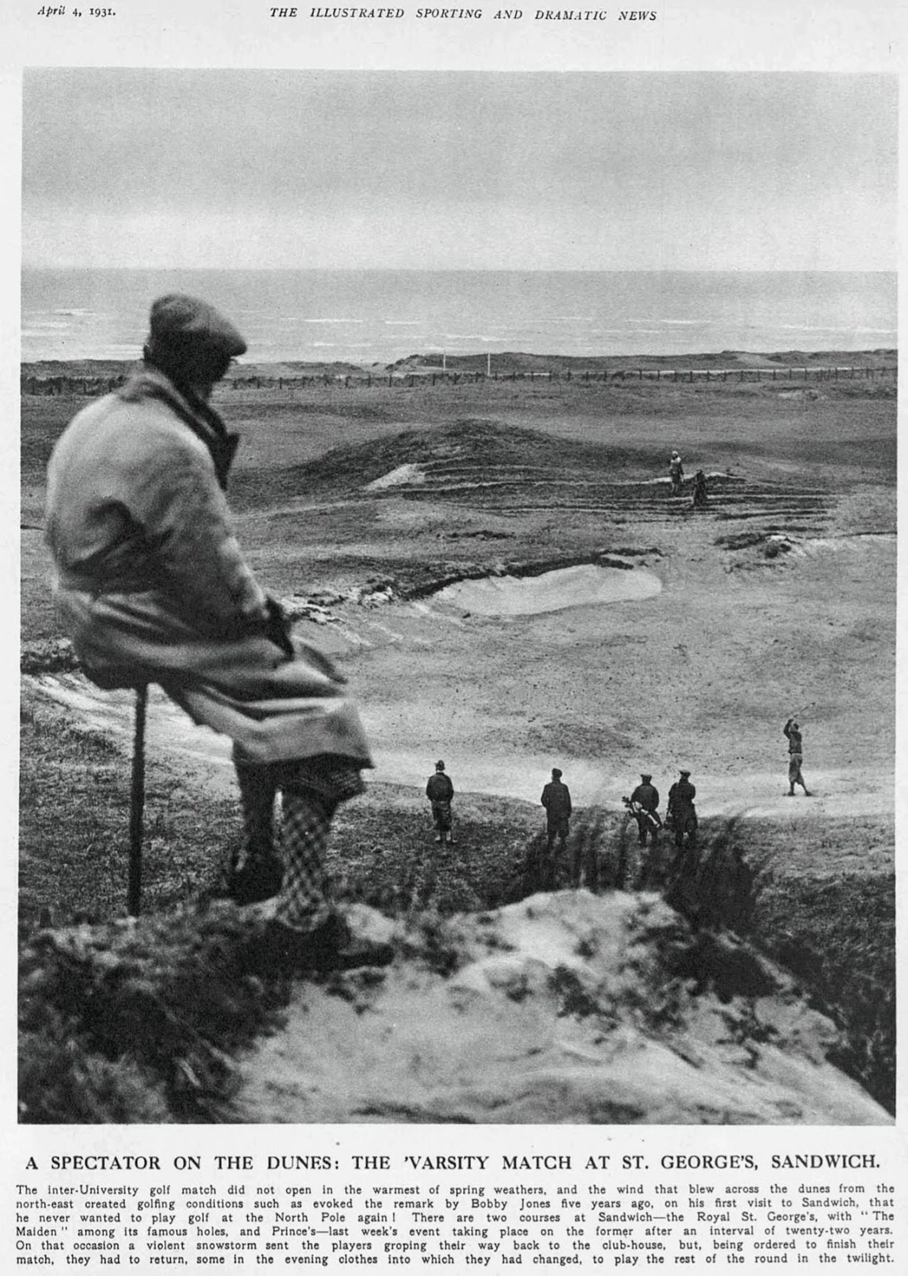 A spectator sits atop the Maiden dune observing the fifth green during an Oxford vs. Cambridge varsity match in 1931.