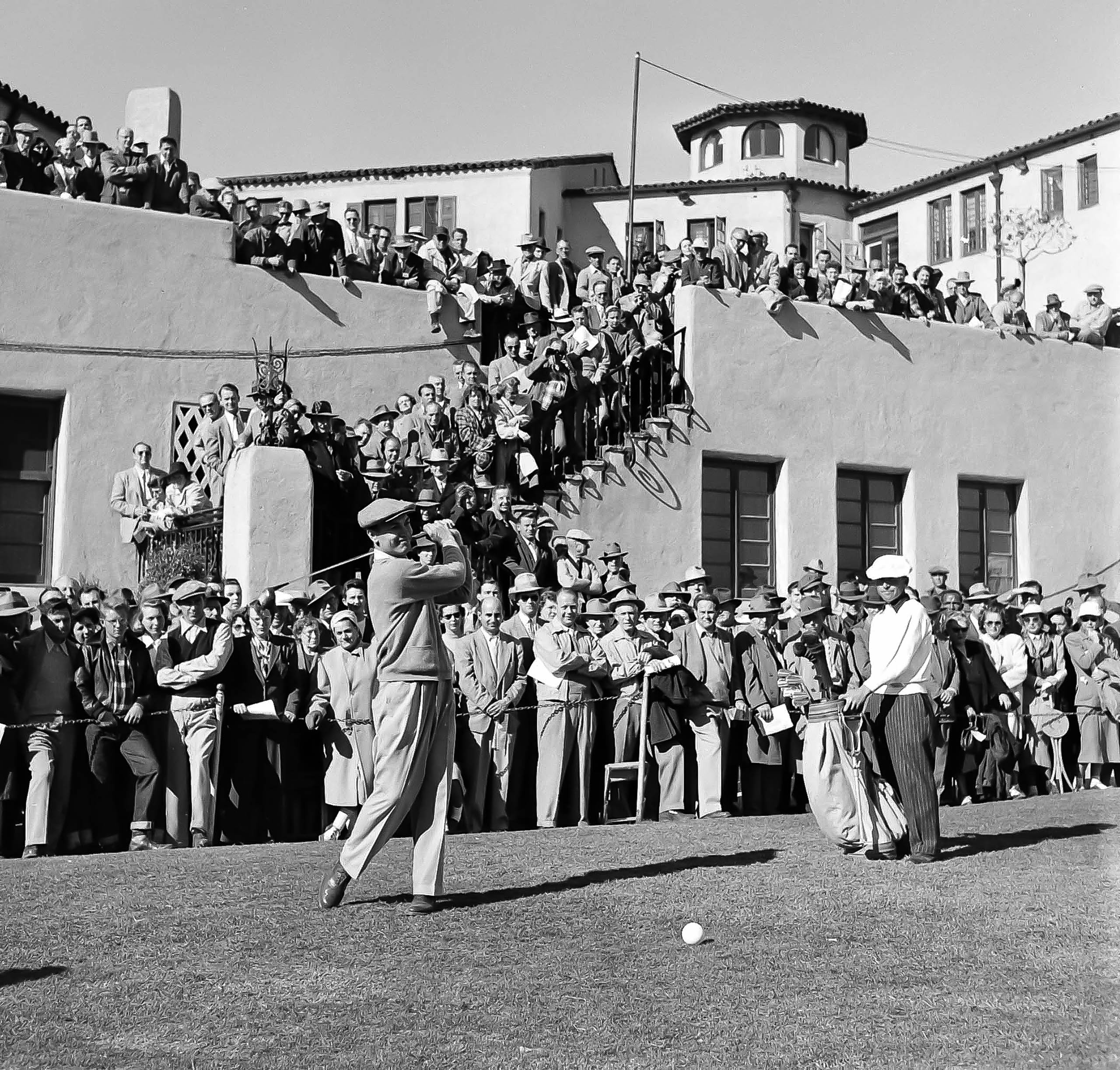Ben Hogan surrounded by fans, Los Angeles Open, Riviera Country Club. (Photo By Peter Stackpole/The LIFE Premium Collection via Getty Images/Getty Images)