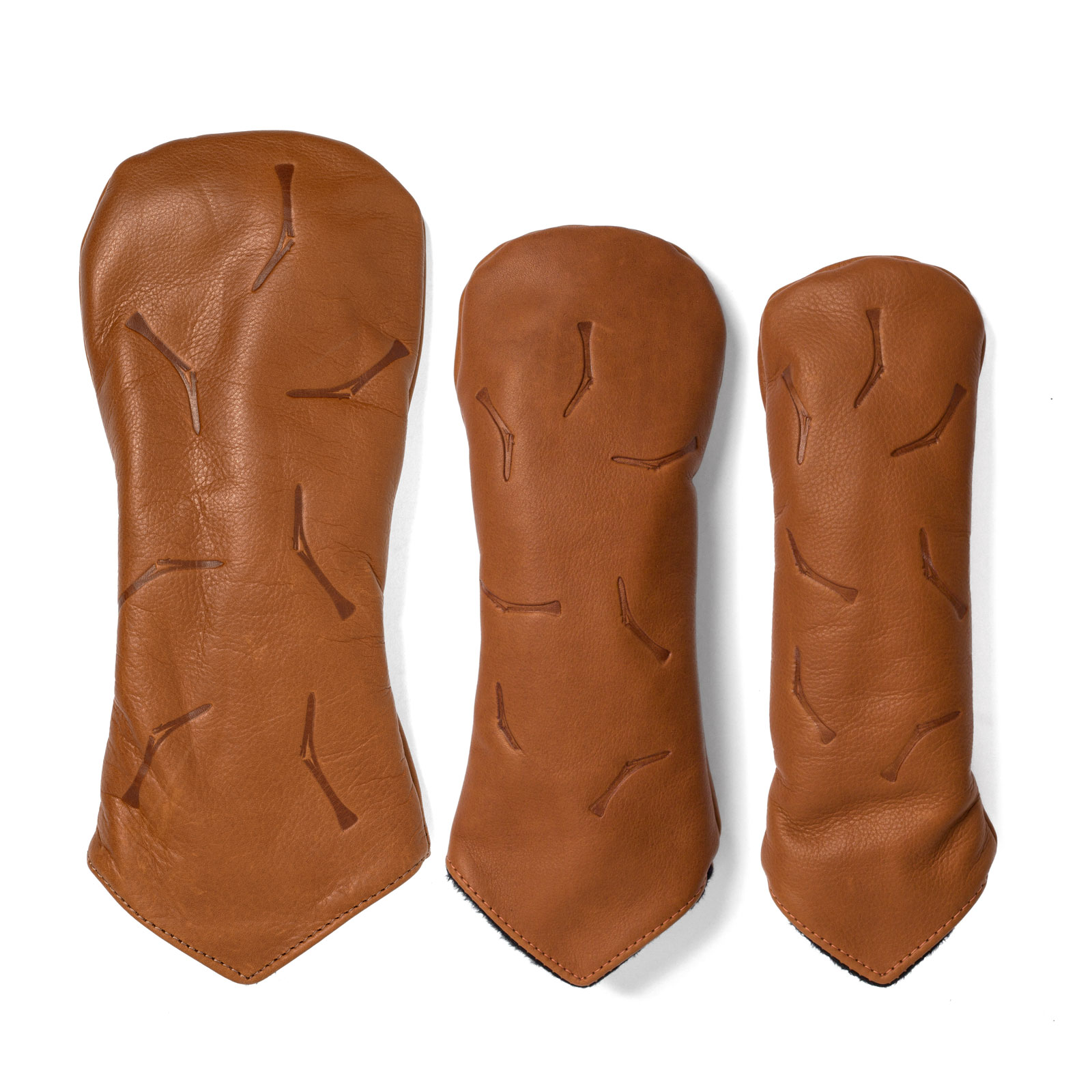TGJ x Links & Kings Broken Tee Leather Headcovers - Tan