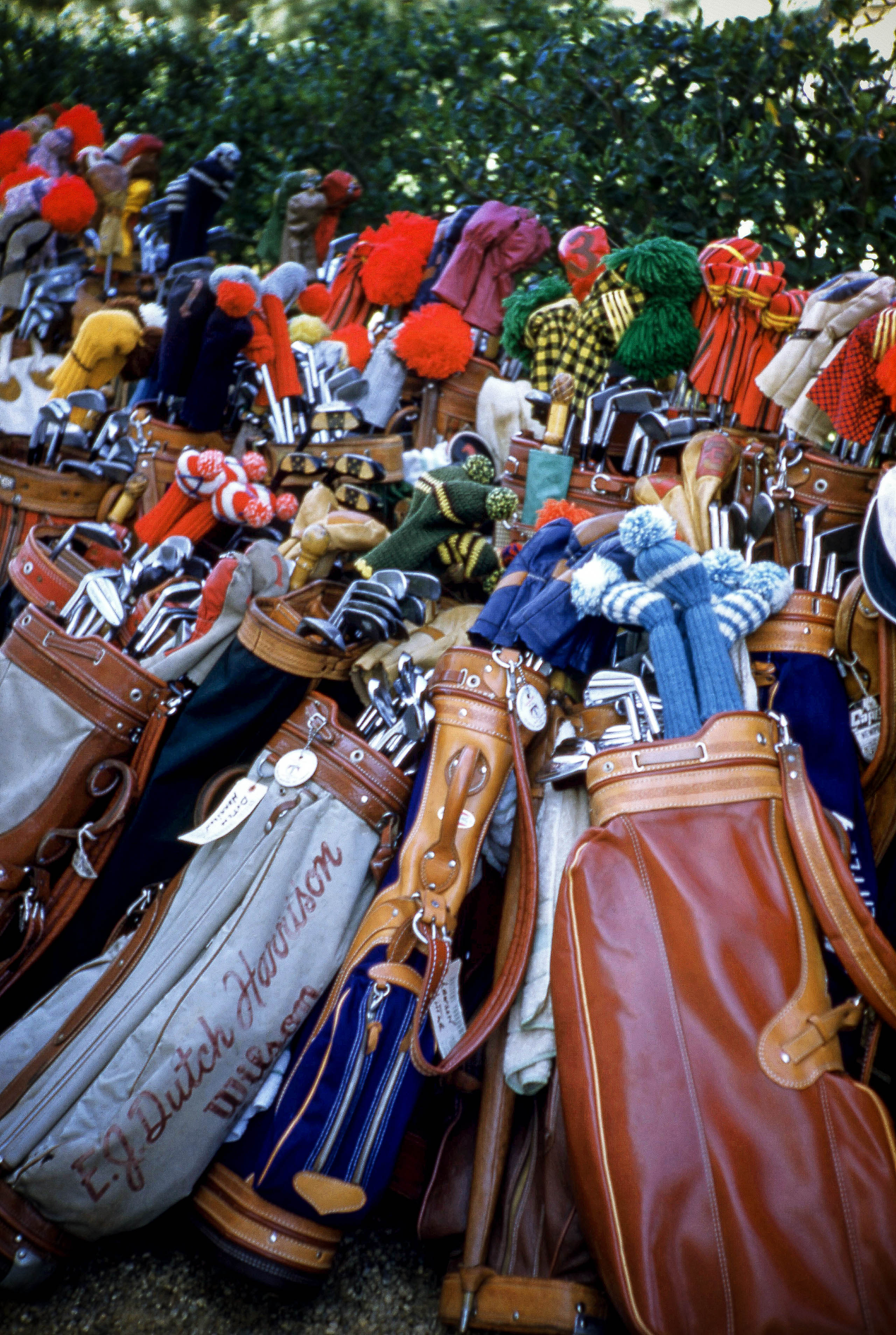 1954: General view of Dutch Harrison's golf bag along with many other golf bags are shown circa 1954. (Photo by Hy Peskin/Getty Images