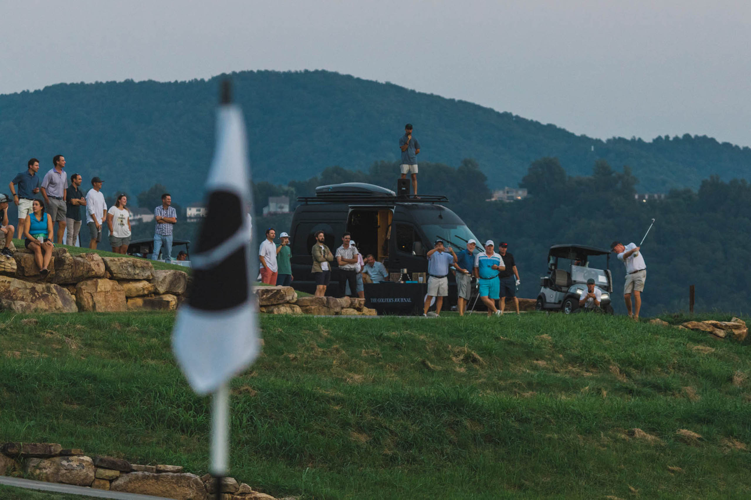 After two days of demanding golf in the Blue Ridge Mountains of Roanoke, VA left us with another three-way tie, we returned to the 18th hole for a sudden death playoff. Five holes and over an hour later, TGJ Senior Editor Tom Coyne tapped in to add his and Joel Morgan's name to the trophy.